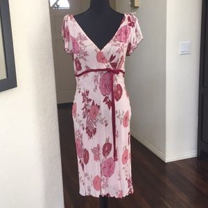 Angie vintage pink and burgundy floral dress